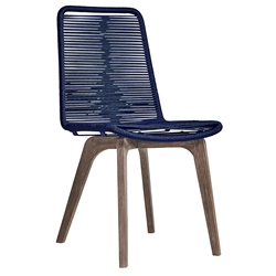 Modloft Laced Modern Indoor + Outdoor Dining Chair in Blue Cord + Weather Eucalyptus