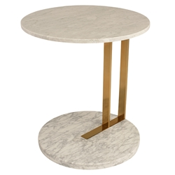 Lacoste White Marble + Gold Steel Round Modern End Table
