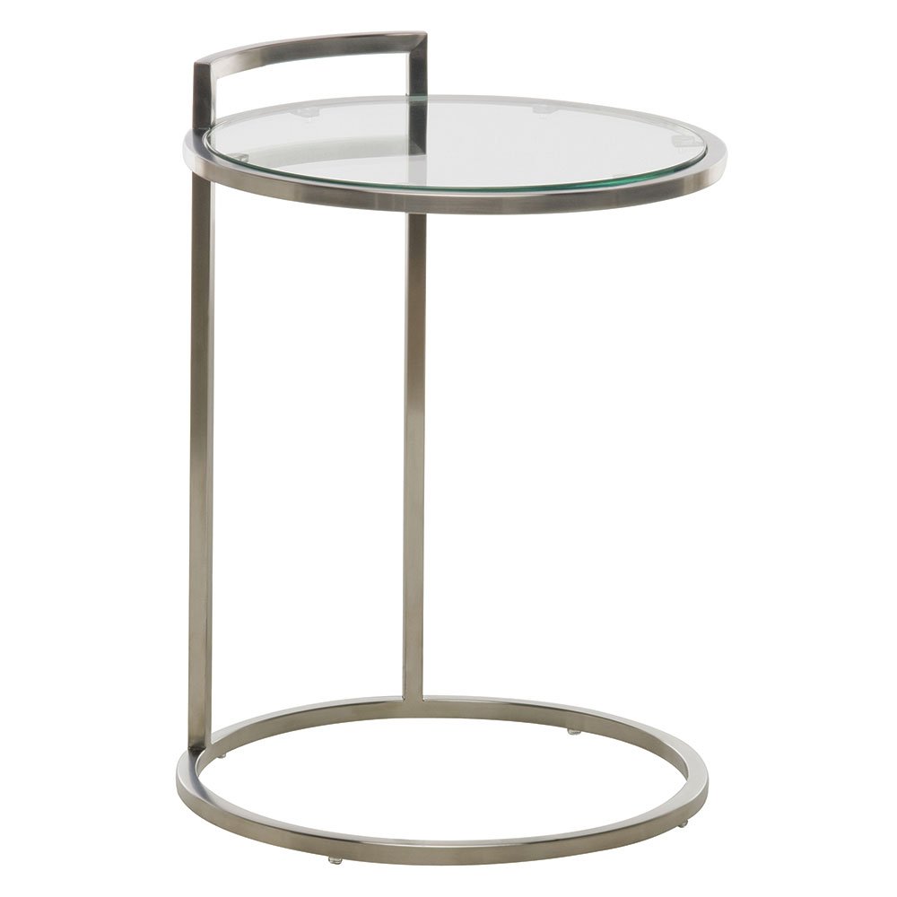 Lakeport Brushed Steel + Clear Glass Round Modern End Table