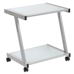 L-Series Modern Printer Cart in Silver