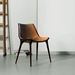 Modloft Black Langham Modern Dining Chair in Aged Caramel Leather - Room Setting