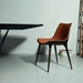 Modloft Black Langham Modern Dining Chair in Aged Caramel Leather - Room Setting With Table
