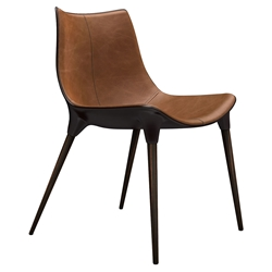 Modloft Black Langham Modern Dining Chair in Aged Caramel Leather