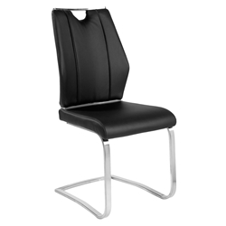 Lexington Black Leatherette + Brushed Stainless Steel Modern Cantilever Dining Side Chair