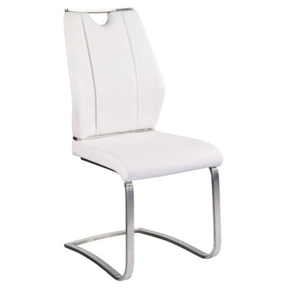 Lacona White Leatherette + Brushed Stainless Steel Modern Cantilever Dining Side Chair