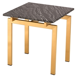 Lindale Black Marble + Gold Steel Square Modern Side Table