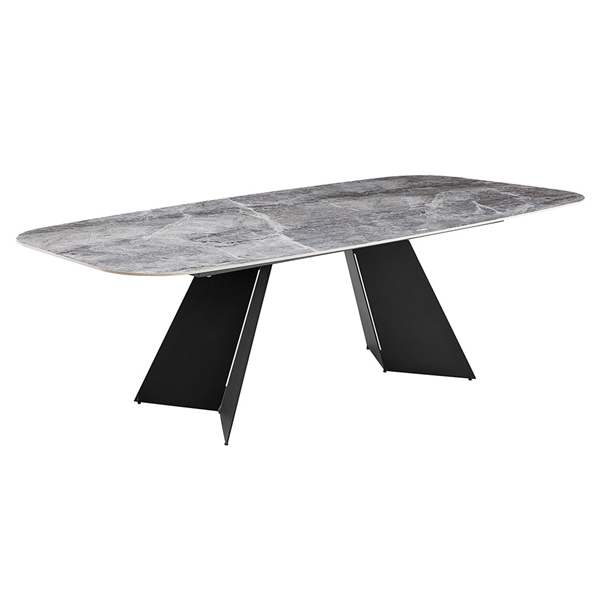 Lizarte 93 in. Contemporary Gray Ceramic Dining Table