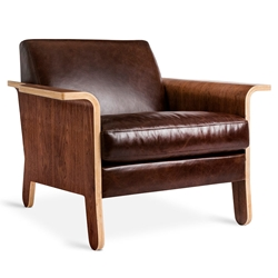 Lodge Contemporary Lounge Chair in Chestnut Brown Leather by Gus* Modern