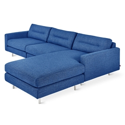 Gus* Modern Logan Bi-Sectional Sofa In Andorra Lapis W/ Steel Legs