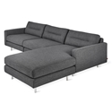 Gus* Modern Logan Bi-Sectional Sofa In Andorra Pewter W/ Steel Legs