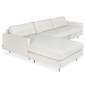 Gus* Modern Logan Bi-Sectional Sofa In Huron Ivory W/ Steel Legs