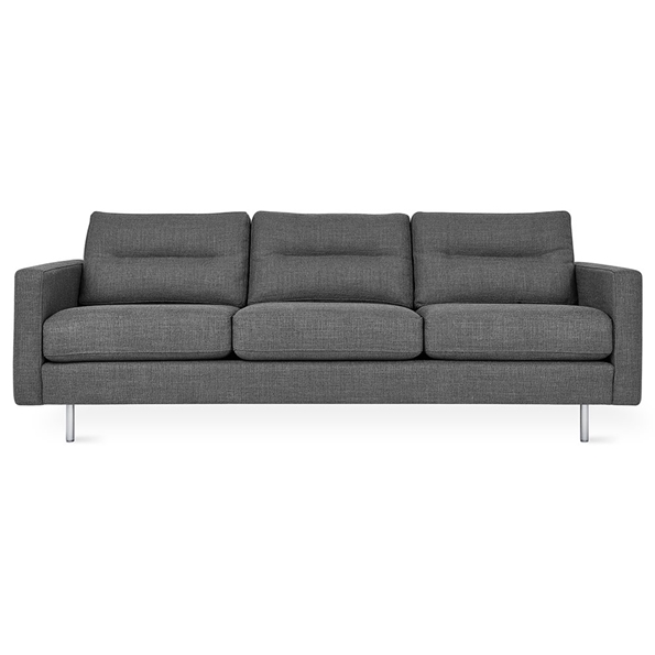 Gus* Modern Logan Sofa in Andorra Pewter Fabric Upholstery + Stainless Steel Legs