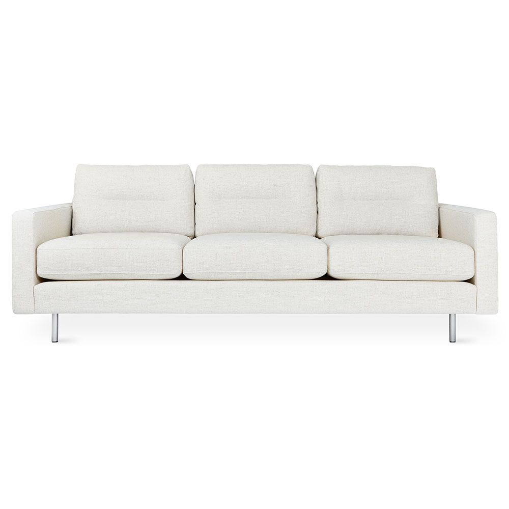 Gus* Modern Logan Sofa in Huron Ivory Fabric Upholstery + Stainless Steel Legs