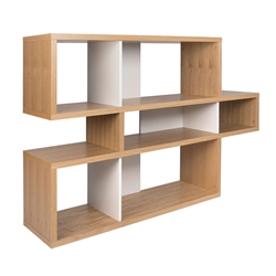 London Oak + White Contemporary Bookcase