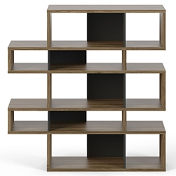 London Walnut + Black Modern Double Height Bookcase
