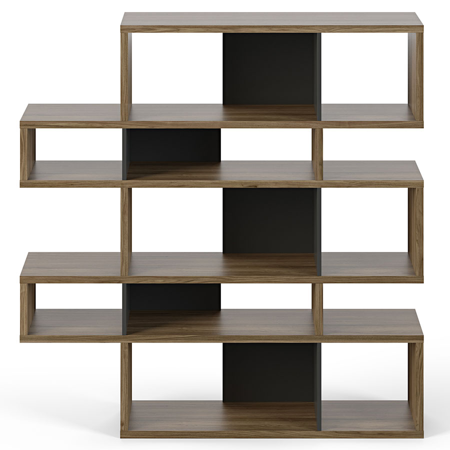 Chateau bookcase walnut leaning bookcase white modern bookcase walnut - London Walnut Black Modern Double Height Bookcase