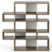 London Walnut + White Modern Double Height Bookcase