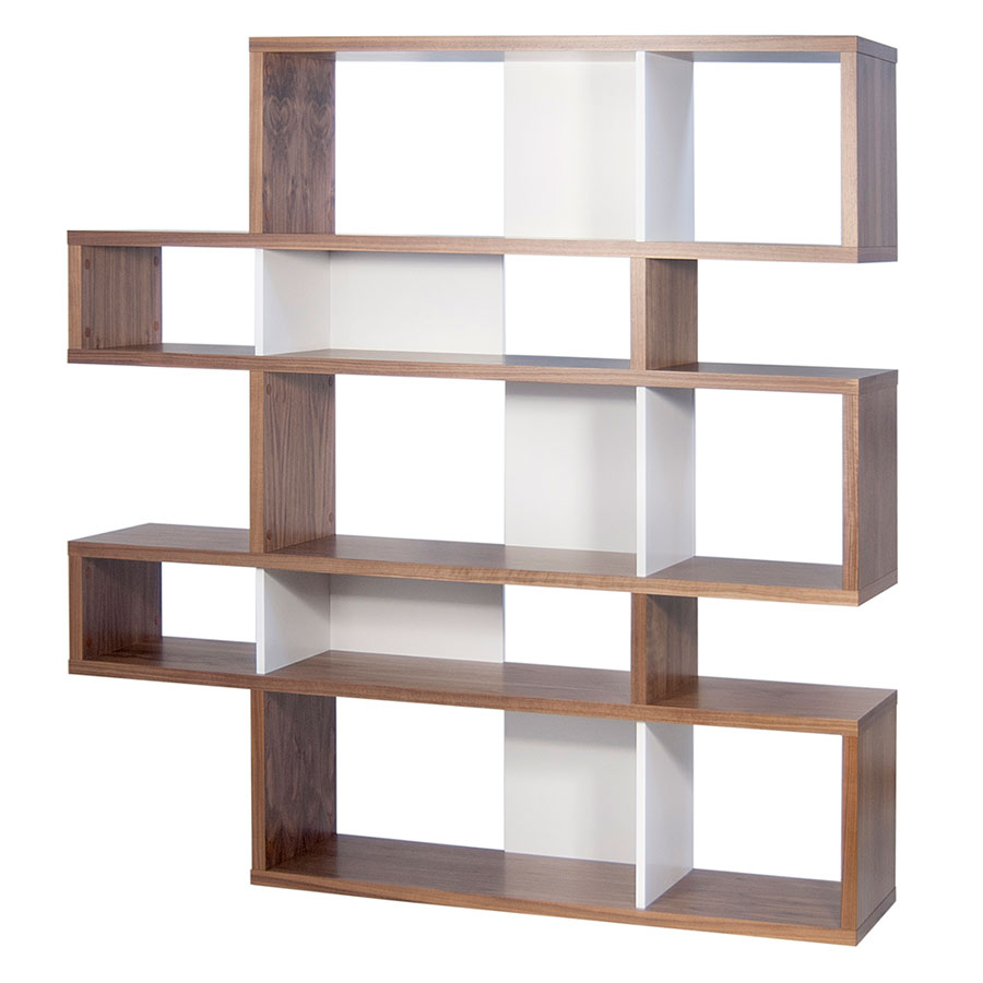 London Walnut White Double Bookcase By Temahome Eurway