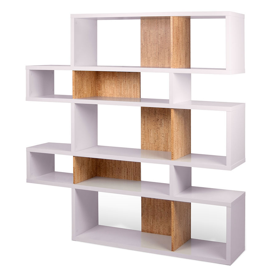 Temahome London White Cork Double Modern Bookcase Eurway