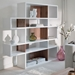 London White + Walnut Contemporary Double Height Bookcase