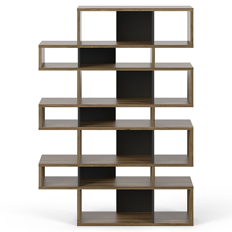London Walnut + Black Modern Triple Height Bookcase by TemaHome