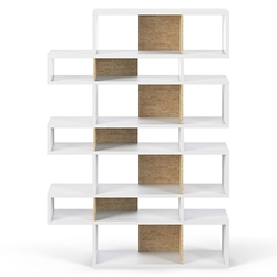 London White + Cork Triple Height Modern Bookcase by TemaHome