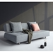 Long Horn Modern Excess Sleeper Sofa in Granite Fabric