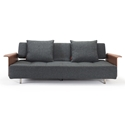 Long Horn Modern Sleeper w/ Arms in Dark Grey by Innovation