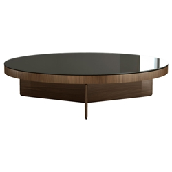 Modloft Black Longford Round Modern Coffee Table with Bronze Glass Top and Walnut Base