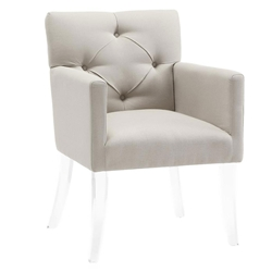 Lorraine Beige Linen + Acrylic Contemporary Arm Chair