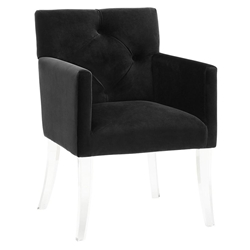 Lorraine Black Velvet + Acrylic Contemporary Arm Chair
