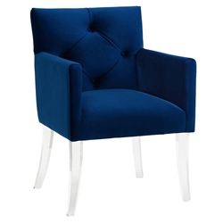Lorraine Blue Velvet + Acrylic Contemporary Arm Chair