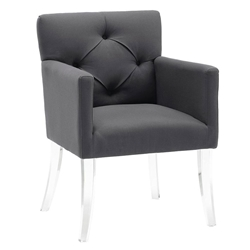 Lorraine Gray Linen + Acrylic Contemporary Arm Chair