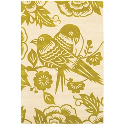 Lovebirds 3x5 Rug in Green and Cream