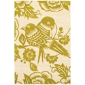 Lovebirds 3'x5' Rug in Green and Cream