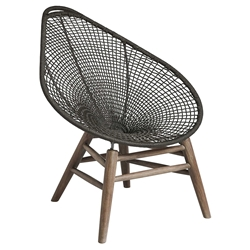 Modloft Lucida Dark Gray Cord + Weathered Eucalyptus Modern Outdoor Accent Chair