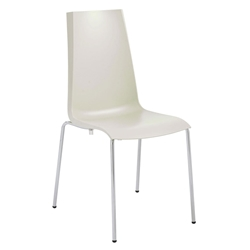 Maddox Linen Polypropylene + Chromed Steel Modern Dining Side Chair