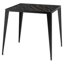 Manvel Black Steel + Black Marble Square Modern Side Table