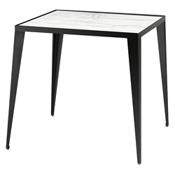 Manvel Black Steel + White Marble Square Modern Side Table