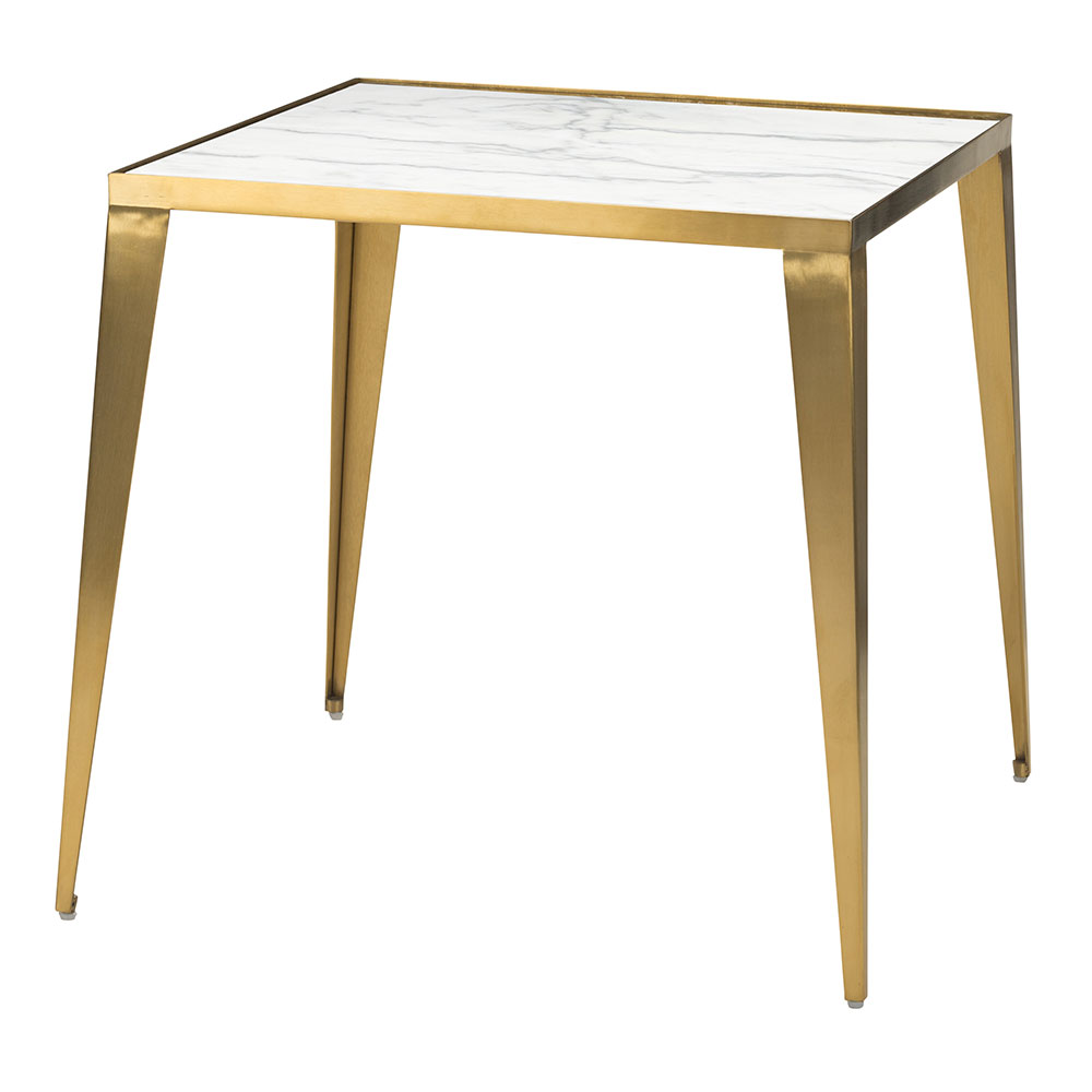 Manvel Gold Steel + White Marble Square Modern End Table
