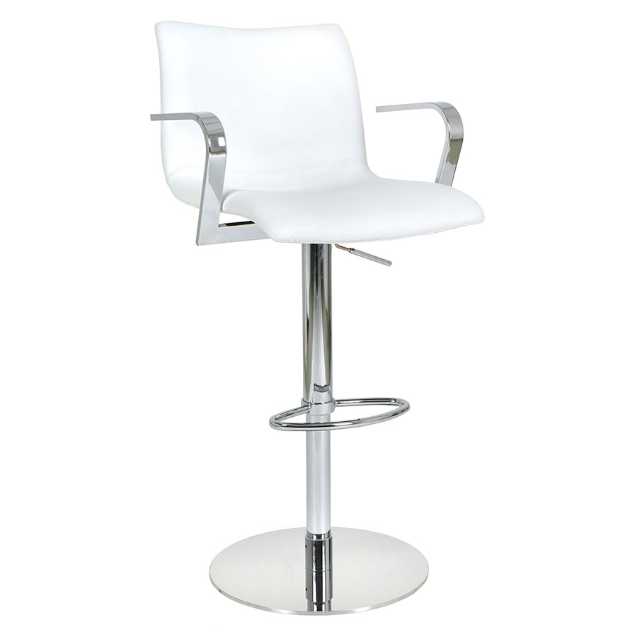 Marcellus White Adjustable Contemporary Stool