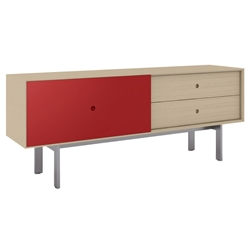 BDi Margo Modern Media Cabinet in Drift Oak Wood with Gray Steel and Cayenne Red Wood Sliding Door