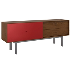 BDi Margo Modern Media Cabinet in Toasted Walnut Wood with Gray Steel and Cayenne Red Wood Sliding Door