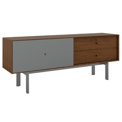BDi Margo Modern Media Cabinet in Toasted Walnut Wood with Gray Steel and Fog Gray Wood Sliding Door