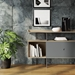 BDi Margo Modern Storage Console in Drift Oak Wood with Gray Steel and Fog Gray Wood Sliding Door - Front View, With Props, Room View
