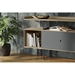 BDi Margo Modern Storage Console in Drift Oak Wood with Gray Steel and Fog Gray Wood Sliding Door - With Props, Room View