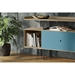 BDi Margo Modern Storage Console in Drift Oak Wood with Gray Steel and Marine Blue Wood Sliding Door - With Props, Room View