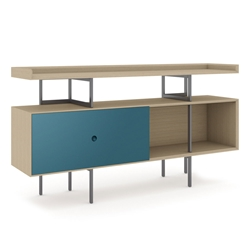 BDi Margo Modern Storage Console in Drift Oak Wood with Gray Steel and Marine Blue Wood Sliding Door
