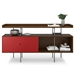 BDi Margo Modern Storage Console in Toasted Walnut Wood with Gray Steel and Cayenne Red Wood Sliding Door - Front View, With Props, Door on Left