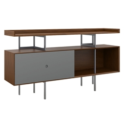 BDi Margo Modern Storage Console in Toasted Walnut Wood with Gray Steel and Fog Gray Wood Sliding Door
